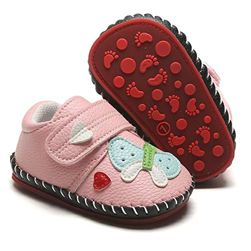 HsdsBebe Baby Boys Girls Pu Leather Hard Bottom Walking Sneakers Toddler Rubber Sole Fisrt Walkers Infant Cartoon Slippers Crib Shoes (12-18 Months Toddler, Butterfly-Pink)