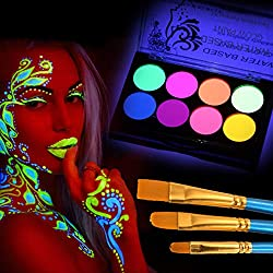 UV Blacklight Glow Face and Body Paint Palette