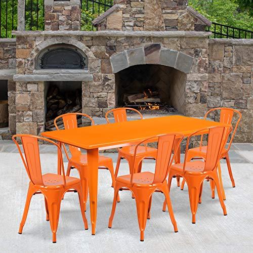 Flash Furniture 31.5'' x 63'' Rectangular Orange Metal Indoor-Outdoor Table Set with 6 Stack Chairs