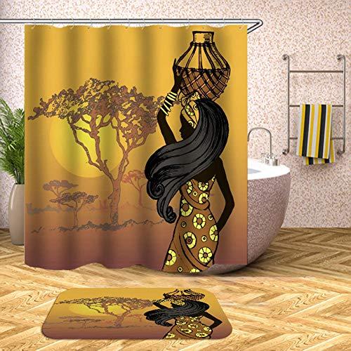 chuanglanja schimmelbestendig douchegordijn Afrikaanse vrouw bedrukt waterdicht douchegordijn polyester antislip mat tweedelige set 180 * 200cm