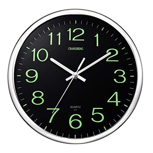 ufengke Reloj de Pared Luminoso Silencioso Plateado Reloj Quartz Creativo con...
