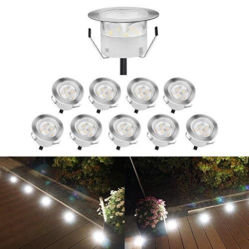 QACA Lot de 10 Spots LED Encastrable,Mini Spots Encastré pour Escaliers Lumière pour Jardin, Patio, Spots Luminaires LED Decoration Eclairage Sécuritaire DC 12V Etanche IP67 (Pack 10,Blanc Froid)