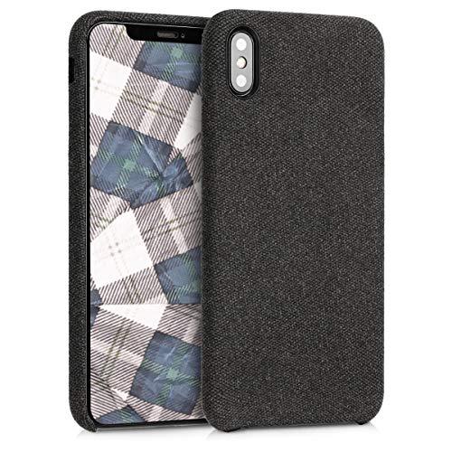 kwmobile Hülle für Apple iPhone XS Max - Case Handy Schutzhülle Stoff - Backcover Cover Canvas Design Dunkelgrau