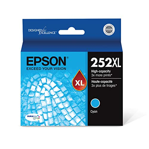 Epson T252XL220 252XL WorkForce WF-3620 3640 7110 7210 7610 7620 7710 7720 Ink Cartridge (Cyan) in Retail Packaging