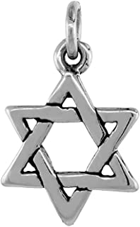 Sterling Silver Star of David Necklace Antiqued Finish 5/16 inch, 16-30 inch 0.8mm Box Chain