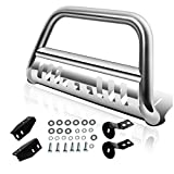 AUTOSAVER88 Bull Bar Compatible for 2007-2020 tundra/2007-2018 Sequoia, 3' Stainless Steel Tubing Brush Push Bar Front Bumper Grille Guard - Chrome