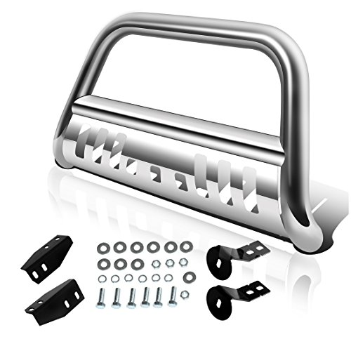 AUTOSAVER88 Bull Bar Compatible for 2007-2021 Toyota Tundra/2008-2021 Sequoia, 3' Stainless Steel Tubing Brush Push Bar Front Bumper Grille Guard - Chrome, Silver