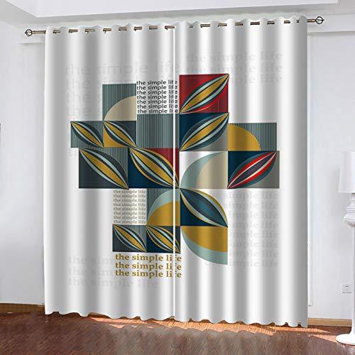 WLHRJ Cortina Opaca en Cocina el Salon dormitorios habitación Infantil 3D Impresión Digital Ojales Cortinas termica - 140x160 cm - Patrón geométrico Creativo