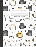 Composition Notebook: Kawaii Kitty Cat Wide Ruled Lined Journal
