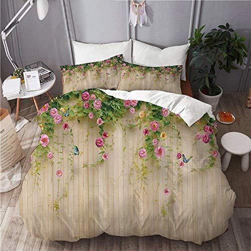 Juego de funda nórdica para ropa de cama, juego de 3 fundas de edredón con 2 fundas de almohada, flor de romero floral con mariposa en un jardín de madera rústico, edredón de microfibra ultra suave de