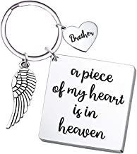 Brother Memorial Keychain Angel Wing- A Piece of My Heart is in Heaven- Remembrance Sympathy Gift