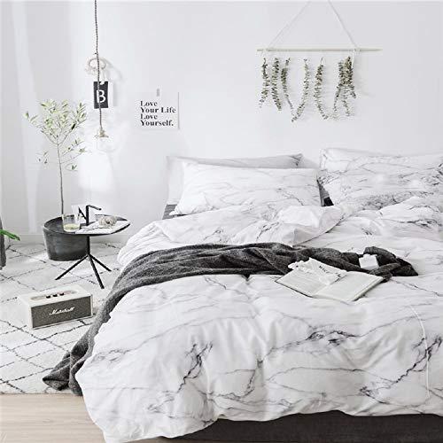 Bettwäsche 155x220 Baumwolle Grau Weiß Mamor Bettbezug Baumwollbettwäsche 3 Teilig Marmor Optik Bettwaesche Weiche Flauschige Bettbezüge Reißverschluss und 80x80cm Kissenbezug Einzelbett(DLSB 155)