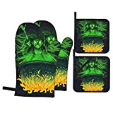 Oven Mitts and Pot Holders Sets of 4,Dramatic Young Witch Looming Above The Cauldron Full of Green Light Brewing Potion Hallo,BBQ Gloves with Resistant Hot Pads for Kitchen Cooking Baking Grilling