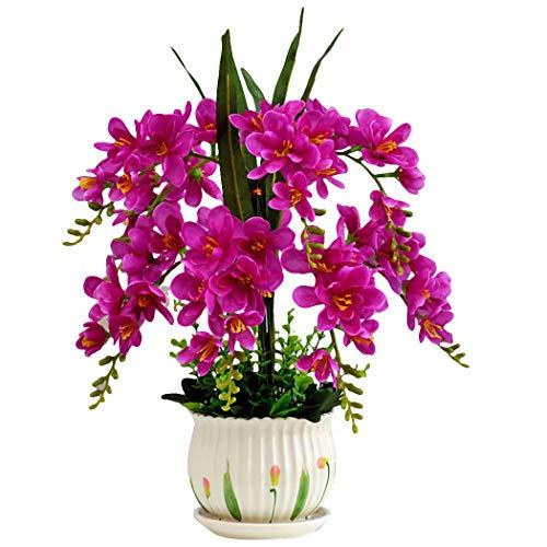 JUSTDOLIFE Fiore in Vaso Seta Finta Orchidea Falena Fiore Artificiale in Vaso Decorazione da Tavola per Casa