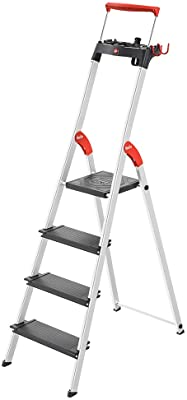 Hailo 8050-427 L100 Pro, 4-Ft Folding Lightweight Aluminum Step Platform Ladder, Black