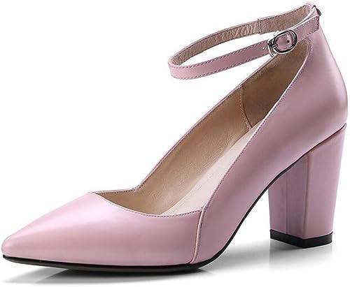 CJC Zapato Cuero áspero Tacón Soltero zapatos Uno Botón Hebilla Puntiagudo Hembra Trabajo zapatos (Color   B, Tamaño   EU36 UK3.5)
