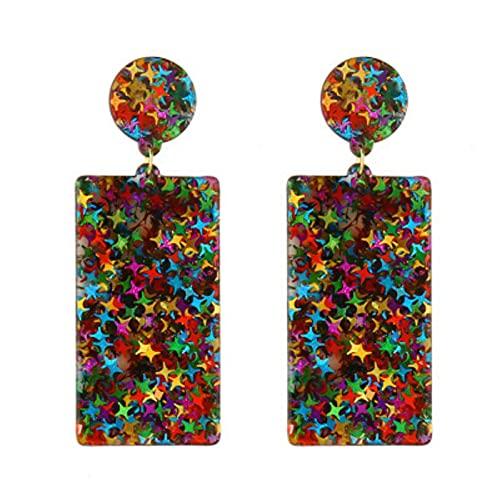 Nuova Clip di Dichiarazione di Moda in Acrilico Geometrico su Orecchini per Gioielli da Sposa con Orecchini Lunghi in Resina Vintage da Donna