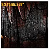 Black Creepy Cloth Halloween Decoration,Gauze Hanging Cloth Ghost Props 300'' X 80'',Super Size Haunted House Backdrop Decor ,Scary Spooky Halloween Fabric Decorations for Party Doorways Outdoors Ceiling Table Yard Bar
