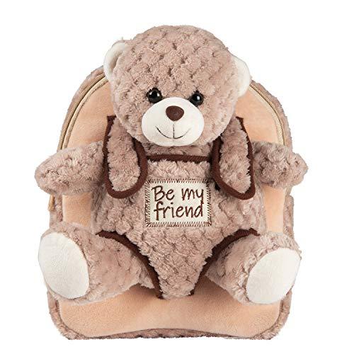 PERLETTI Kuscheltier Teddybär Rucksack für Kinder mit Plüschtier Bär - Pluschspielzeug Weich Flauschig und Kindergarten Schultasche mit Tasche für Plüschbär - Baby Kindertasche 27x21x9 cm (Braunbär)