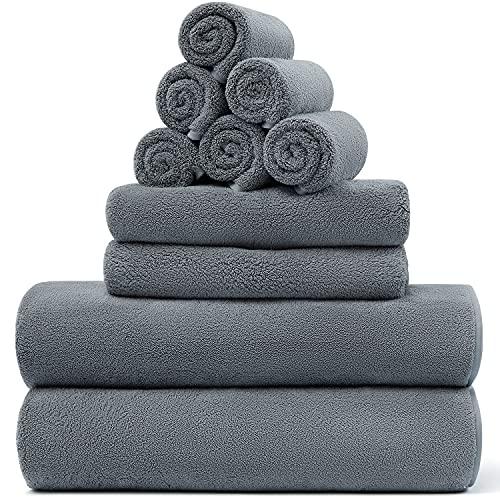 Lifebay Microfiber Bath Towels Set, 10-Piece Ultra Soft Towels for Bathroom, Absorbent Microfiber Towels for Body, Quick Dry Towel Sets for Bathroom, Beach, Pool, Gym, Yoga(10-Piece, Ultimate Gray)