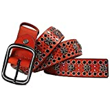 Laishutin Punk Cinturón Cinturón de Hombres y Mujeres Unisex de Cuero Punky de la Correa Palabra Accesorios Hebilla de cinturón Hebilla Ideal para Viajes Bares Mascarada (Color : Black, Size : 125cm)