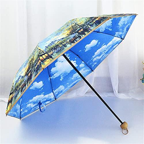 ombrello portatile 26cm HLONGG Ombrello Portatile Art Pittura Argento Placcato Doppio Ombrello Pieghevole Ombrello UV 26cm