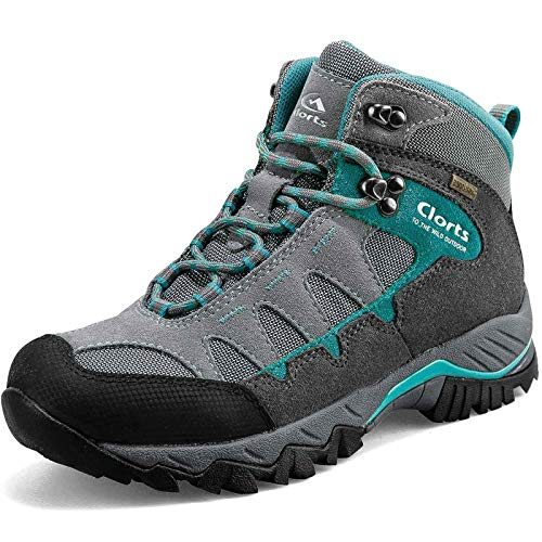 Clorts Women's Pioneer Hiking Boots Waterproof Suede Leather Lightweight Hiking Shoes Grey/Turquoise US Women Size 9 Medium Width