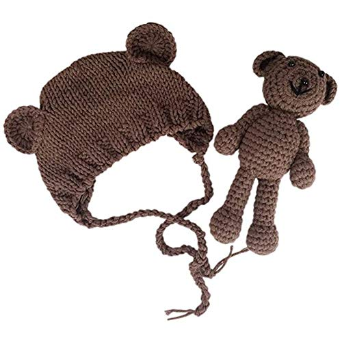 xwanli Neugeborene Baby Fotografie Requisiten Häkel-Kostüm für Babys, Mütze mit Bär