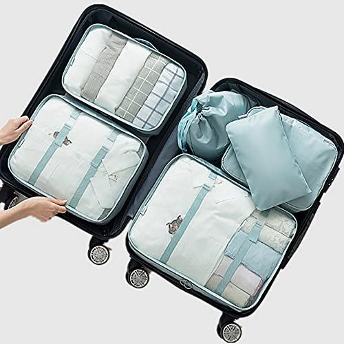 FVIWSJ Cubos de Embalaje,Organizador de Equipaje,6 en 1 Set de Organizadores de Viajes Impermeable Organizador de Maleta Bolsa para Ropa Sucia de Viaje,A
