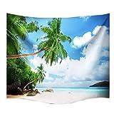 A.Monamour Naturaleza Tropical Paisaje Playa Playa Coco Árbol Azul Cielo Nubes Blancas Pared Colgante Tapiz Pared Decoración