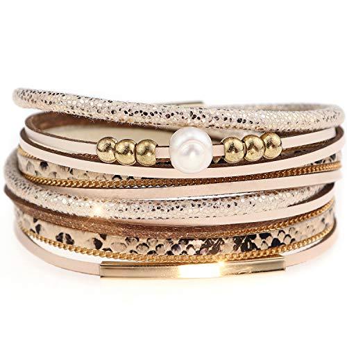 Suyi Bracelet en Cuir pour Les Femmes Léopard Multicouche Wrap Bracelet Boho Cadeau d