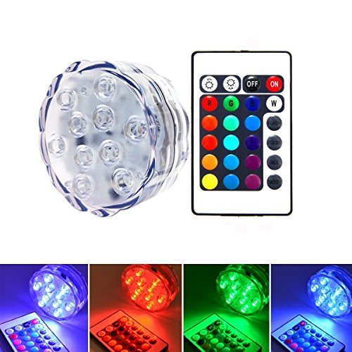 Upsky Unterwasser Licht mit Fernbedienung,Multi Farbwechsel Wasserdichte LED Leuchten für Vase Base Aquarium Teich Halloween Party Weihnachten, 10 LEDS[Energieklasse A++]