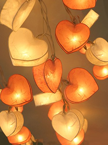 Exotic Elegance Set of 20 Heart Mulberry Paper String Lights /Home Decor/ Valentine's Party, Pink and White.