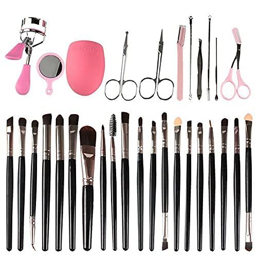 Juego de brochas de maquillaje profesional LuLyL, base de rubor de contorno avanzado Kabuki sintético, con esponja y juego de 10 herramientas de recorte de cejas