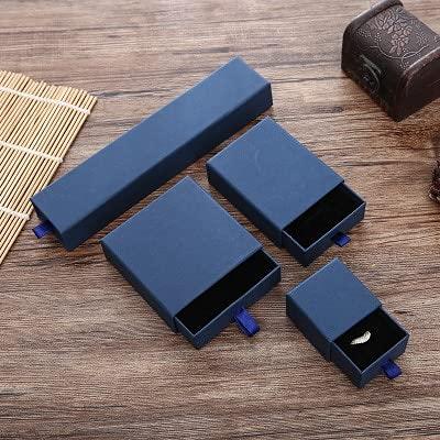 ZJF 50 Piezas de Oro en Relieve Personalizado y Plateado pequeña Caja de cartón cajón Caja de cartón Pendientes Personalizados Caja de joyería (Color : Navy Blue Boxes, Gift Bag Size : 50 Boxes)