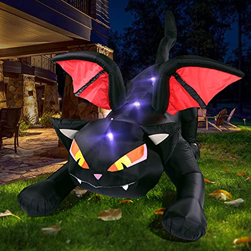Sizonjoy 8FT Halloween Decorations Inflatable Outdoor Lighted Black Cat with Wings, Animated Halloween Blow Up Decor for Yard Lawn Garden Party Decor