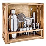18 Piece Cocktail Shaker Set with Rustic Pine Stand,Gifts for Men Dad Grandpa,Stainless Steel Bartender Kit Bar Tools Set for Christmas Gift,Home, Bars, Parties and Traveling