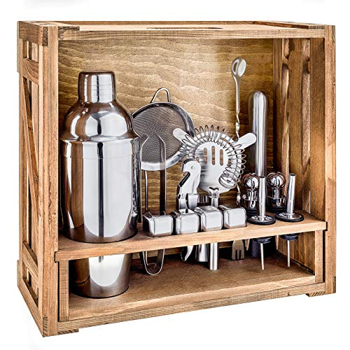 18 Piece Cocktail Shaker Set with Rustic Pine Stand,Gifts for Men Dad Grandpa,Stainless Steel Bartender Kit Bar Tools Set for Christmas Gift,Home, Bars, Parties and Traveling (Silver)