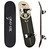 KO-ON Complete Skateboards for Beginners and Kids 31 inches x 7.88 inches, Standard 7-ply Layers Canadian Maple Wood with Double Kicktails and Radial Concave for Tricks (Vague Eye)