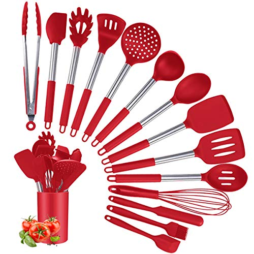 Silicone Cooking Utensil Set, Kitchen Utensils 15Pcs Cooking Utensils Set, Non-stick Heat Resistant Silicone Cookware with Stainless Steel Handle, BPA-Free Cookware Kitchen Tools Set, Red