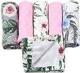 3x Moltontücher + 2x Mulltücher Rosa inklusive 1 Wickelunterlage für Mädchen - MADE IN EU - Spucktücher Set für Mädchen - Mullwindeln Rosa - Moltontücher Mädchen