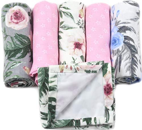 Hydrofiele Luiers - Flanellen Luiers – Set van 3x Flanellen luier + 2x Hydrofiele doeken - Inclusief Verschoonmatje - Meisje - Roze – Bloemen
