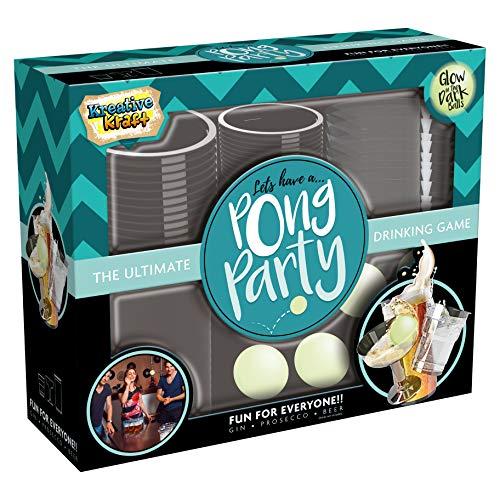 KreativeKraft Bierpong Set, Trinkspiel Cocktail Set mit Becher und Leuchtende Ball, Spass Zubehör Partyspiele Beer Pong Party Deko, Spiele Für Erwachsene