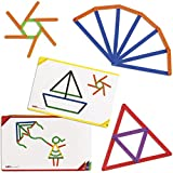Edx Education Junior GeoStix - In Home Learning Toy for Early Math and Creativity - 200 Multicolored Construction Sticks - 30 Double-Sided Activity Cards - Geometric Manipulative