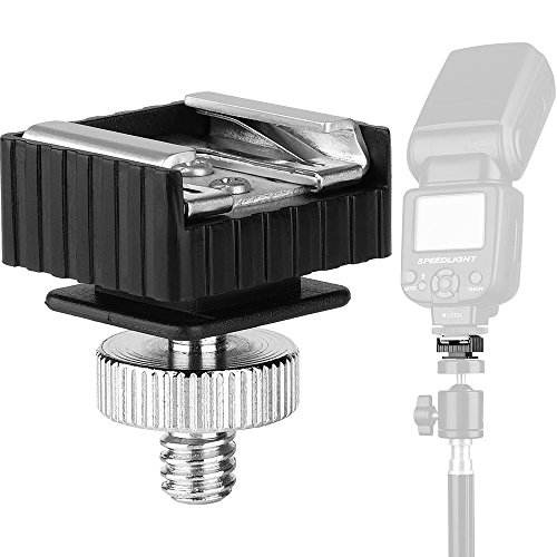 Flash Hot Shoe Mount Adapter to 1/4 Thread Hole with 1/4-20 Male to 1/4-20 Male Tripod Screw Adapter for Flash Holder Bracket Light Stands Umbrella Holder Flash Bracket,Strong and Solid (Update)
