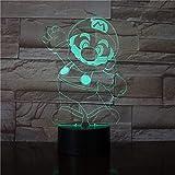 Lámpara de noche 3D LED de 7 colores para niños Lámpara de mesa LED USB Touch Lámpara de noche para niños que duermen -Fernbedienun