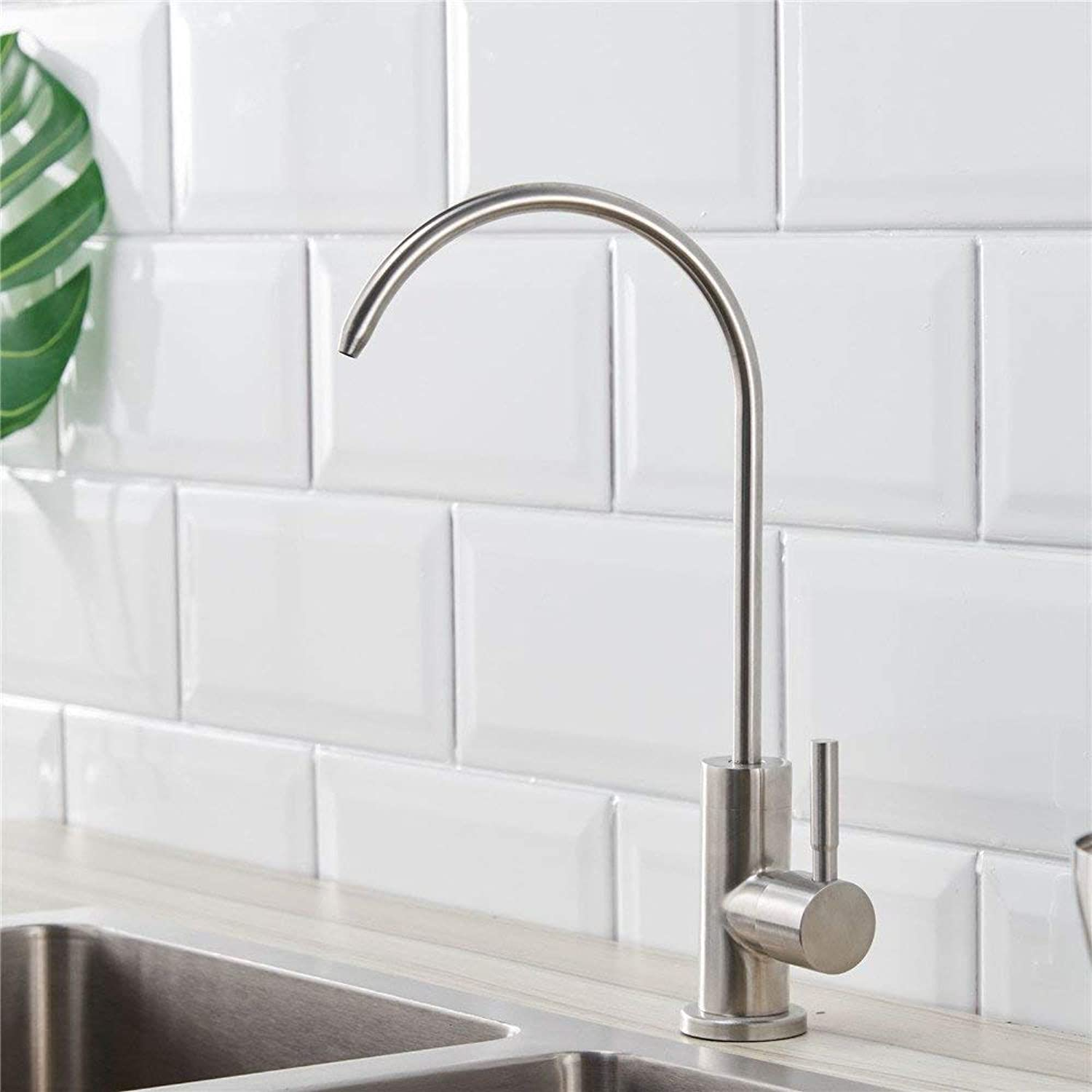Oudan Lead 304 Stainless Steel Kitchen Faucet greenical Single Household Water Purifiers The Single Cold Drinking Water Tap Hole (color   -, Size   -)