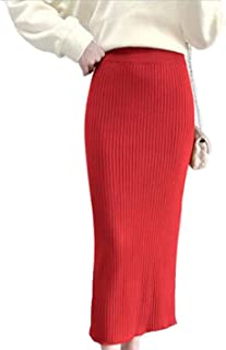 BININBOX Falda de Lana Falda Larga de Punto Mujer De Cintura Alta para otoño e Invierno