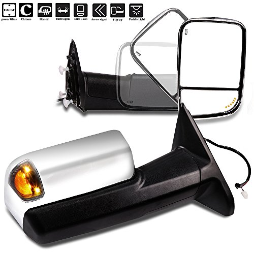 SCITOO Tow Mirrors Compatible fit for 2009-2017 Ram 1500 2010-2017 Ram 2500 3500 Arrow Turn Signal Side Marker Light Power Control Heated Puddle Light Features