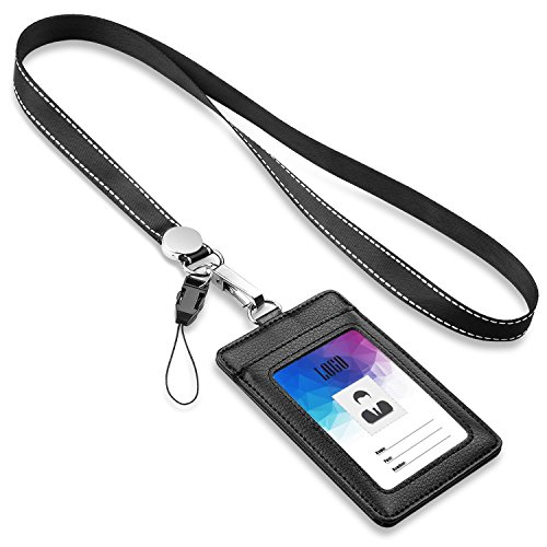 """Badge Holder,FZR Legend 2-Sided PU Leather ID Card Badge Holder with 1 ID Window, 1 Card Slot and 1 Piece 21"""" Heavy Duty Lanyard/Strap,Vertical Style - Black"""